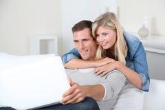komputerowy pary domu laptop Obrazy Stock
