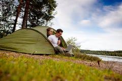 komputerowy plenerowy namiot Fotografia Royalty Free