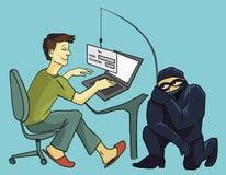 Komputerowy przestępstwo, phishing sowizdrzał, sfałszowana nazwy użytkownika strona royalty ilustracja