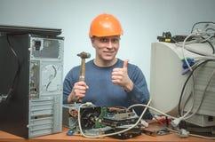 Komputerowy repairman Komputerowy technika inżynier 3d ilustracyjny usługowy poparcie Zdjęcia Royalty Free