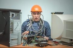 Komputerowy repairman Komputerowy technika inżynier 3d ilustracyjny usługowy poparcie Obrazy Royalty Free