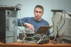 Komputerowy repairman Komputerowy technika inżynier 3d ilustracyjny usługowy poparcie Fotografia Stock