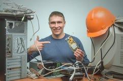 Komputerowy repairman Komputerowy technika inżynier 3d ilustracyjny usługowy poparcie Zdjęcia Stock