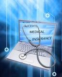 komputerowy ubezpieczenie zdrowotne nagrywa stetoskop Obraz Stock