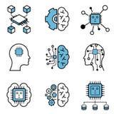 Komputerowy uczenie & sztucznej inteligencji projekta ikony wektorowy set fotografia stock