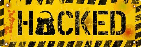 Komputerowy wirus, hackera ostrzeżenia znak, wektorowa ilustracja Obrazy Stock