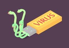 Komputerowy wirus na błysku usb przejażdżce ilustracji