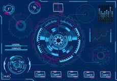 Komputerowy zarządzanie Diagnostyczny wyposażenie Wirtualny graficzny interfejs, elektroniczny obiektyw, HUD elementy ilustracja ilustracja wektor