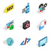 Komputerowych biz ikony ustawiać, isometric styl Zdjęcia Stock