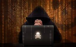 komputerowych cyfr hackera laptopu udziałów parawanowy używać obraz royalty free