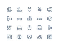 Komputerowych składników ikony Kreskowe serie Zdjęcia Royalty Free