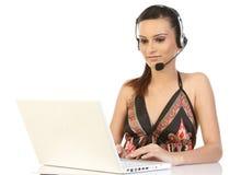 komputeru frontowa laptopu telefonowania kobieta zdjęcia royalty free