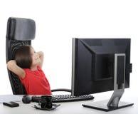 komputeru frontowy dziewczyny biuro Zdjęcia Stock