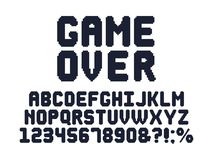 Komputeru 8 kawałka gry chrzcielnica Retro gra wideo piksla abecadła, 80s hazardu i piksli listów wektoru set typografii proje ilustracja wektor