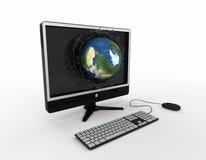 komputeru spadać kuli ziemskiej moni pluśnięcia Zdjęcie Stock