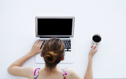 komputery być obramowane laptop zdjęcie kobiety young pracy pionowe Zdjęcie Royalty Free