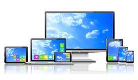 Komputery i chmurnego nieba pojęcie. Obrazy Stock