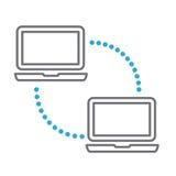 Komputery komunikuje z przekazem machają powracającego ilustracji