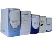 komputery pięć odizolowywali biel Obraz Royalty Free