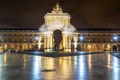 Komrets fyrkantiga Praca gör Comercio i Lissabon, Portugal Arkivfoton