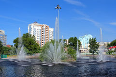 Komsomolsk pond with Fountains in Lipetsk, Russia Royalty Free Stock Photography