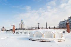 Komsomolskaya广场在哈巴罗夫斯克,俄罗斯 免版税图库摄影