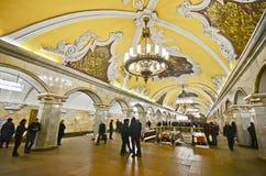 Komsomolskaya metrostation, Moscow Royaltyfri Foto