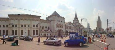 Komsomolskaya square in Moscow with Kazanskiy railway station and Lenongradskaya hotel. Royalty Free Stock Photos