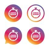 Komst spoedig pictogram Het symbool van de bevorderingsaankondiging Royalty-vrije Stock Fotografie