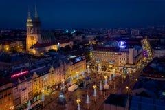 Komst in Zagreb, hoofdstad van Kroatië Stock Foto's