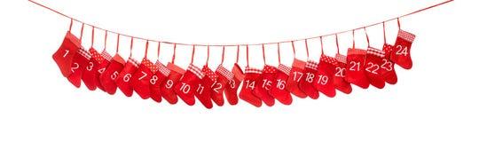 Komstkalender 1-24 Kerstmis mept rode decoratie royalty-vrije stock afbeelding