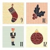 Komstkalender met de hand getrokken vectorillustraties van de Kerstmisvakantie voor 9 - 12 December Kous, maretak, ornament, vector illustratie