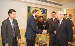 Komt de Congresdelegatie van Verenigde Staten Israel President samen Stock Foto