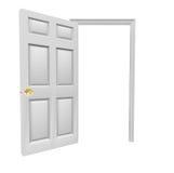 Komt de deur Open Uitnodiging binnen Lege Exemplaarruimte Uw Bericht Stock Foto
