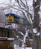 Komt hier de Trein in Nieuw Richmond, MI stock fotografie
