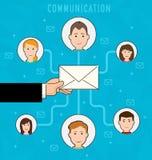 Komunikaci proces płaska sieć infographic działająca email kampania ilustracja wektor