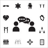 komunikacja między dwa ludźmi ikon Rozmowy i przyjaźni ikon ogólnoludzki ustawiający dla ilustracja wektor