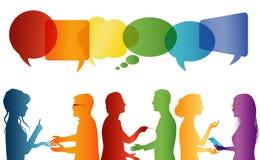 Komunikacja mi?dzy wielkim grupa ludzi kt?ry opowiada T?umu opowiada? Komunikuje og?lnospo?ecznego networking Dialog mi?dzy lud?m ilustracji