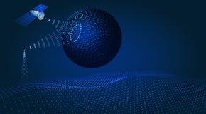 Komunikacja, nawigacja, satelity kontrola, hud projekt, hologram kula ziemska ilustracja ilustracji