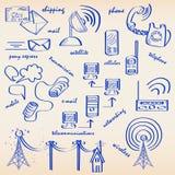 komunikacja rysujący ręki ikony set Zdjęcie Stock