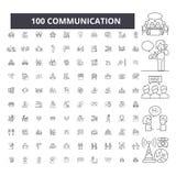 Komunikacyjne editable kreskowe ikony, 100 wektorów set, kolekcja Komunikacyjne czarne kontur ilustracje, znaki, symbole royalty ilustracja