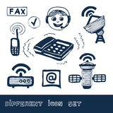 komunikacyjnej ikon sieci ustalona ogólnospołeczna sieć Zdjęcie Stock