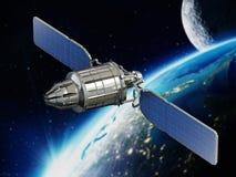 Komunikacyjnej satelity Na orbicie ziemia ilustracja 3 d ilustracja wektor