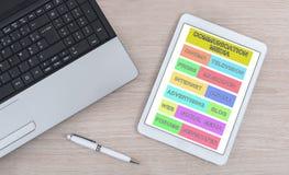 Komunikacyjnych środków pojęcie na cyfrowej pastylce Zdjęcie Stock