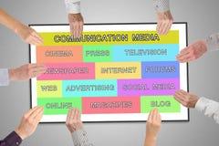 Komunikacyjnych środków pojęcie na whiteboard Fotografia Stock