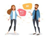 Komunikuje faceta i dziewczyny z bąblami ilustracja wektor