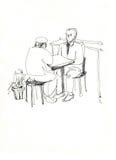 komunikuje kumpel stół ilustracji