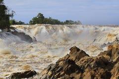 Kon pra peng waterfalls in champasak southern of laos republic Royalty Free Stock Images