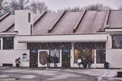 Kon-Tiki Museum during a snow storm royalty free stock photo