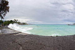 Kona harbor sea waves in big island Royalty Free Stock Images